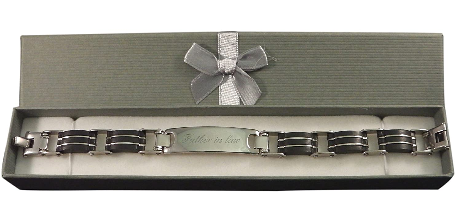 Luxury Engraved Gifts UK Mens Father In Law Identity Id Bracelet Personalised Custom Gift Box BR3