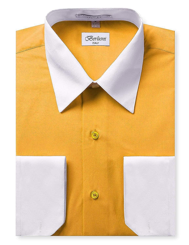 1cb24025511 Berlioni Italy Men s Long Sleeve Two Tone Premium Dress Shirt at Amazon  Men s Clothing store