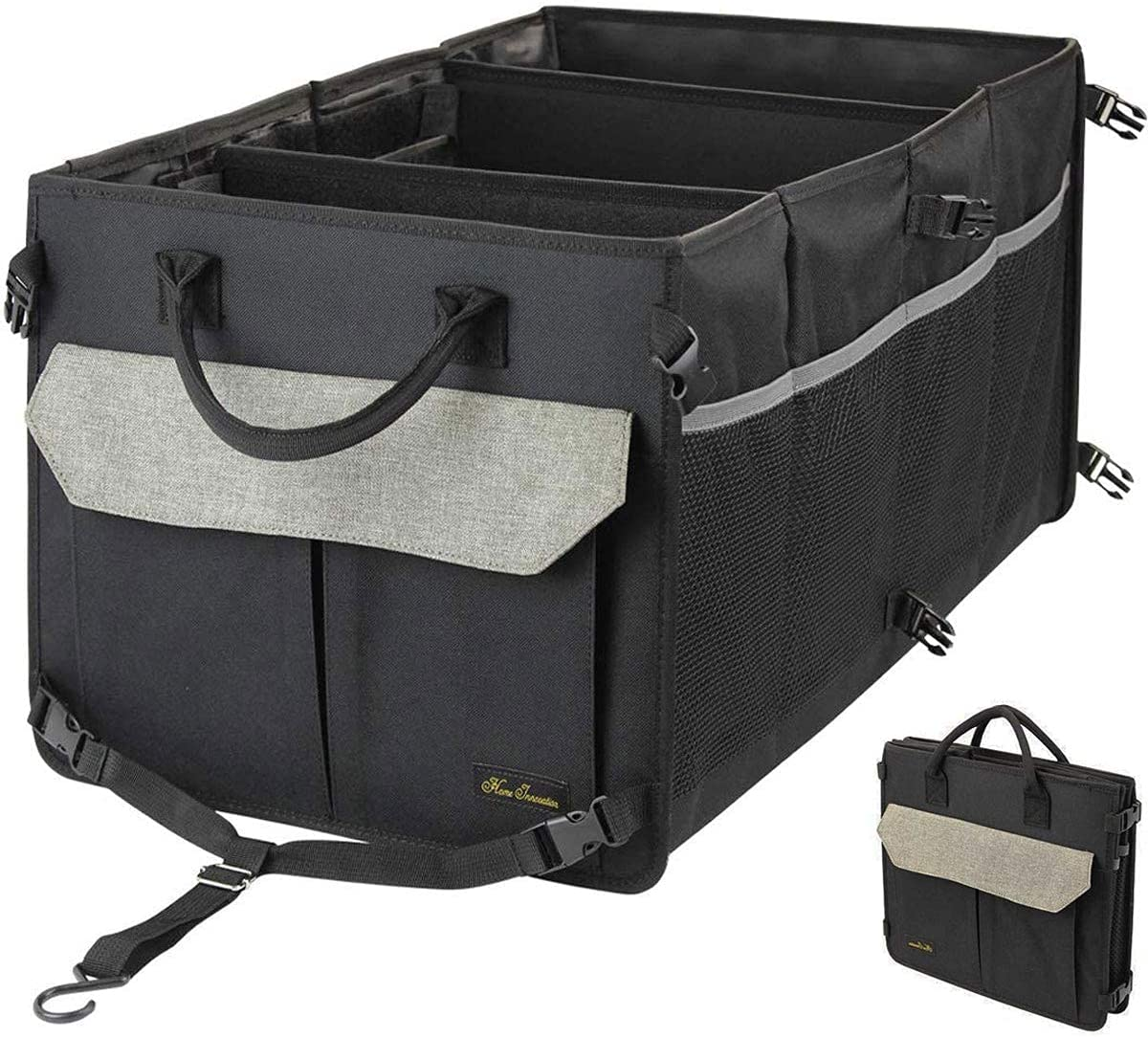 Befano Car Trunk Organizer SUV Straps 2 Compartments, Black Non-Slip Waterproof Bottom Foldable Lid Cargo Trunk Organizers and Storage