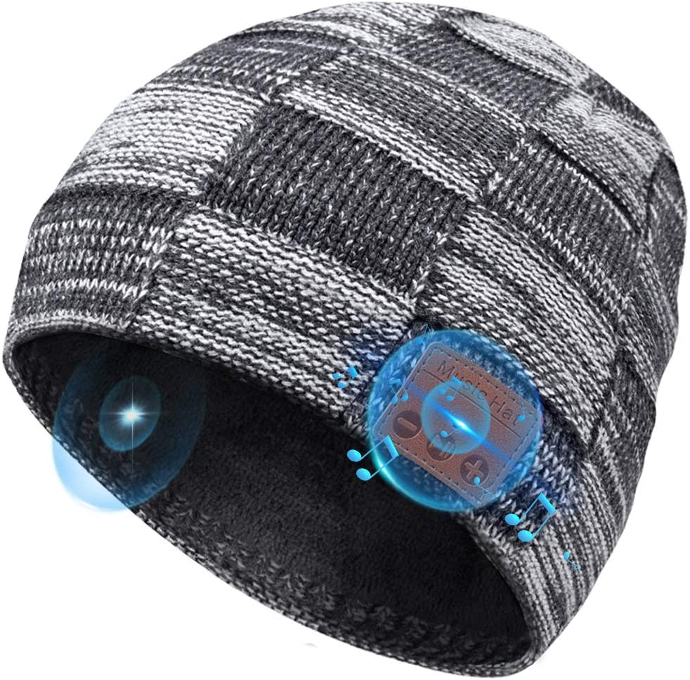 Wireless Bluetooth 5.0 Beanie Hat Winter Hat with HD Stereo Speakers Built-in Microphone for Outdoor Sports Replitel Bluetooth Beanie Hat with Headphones Wireless