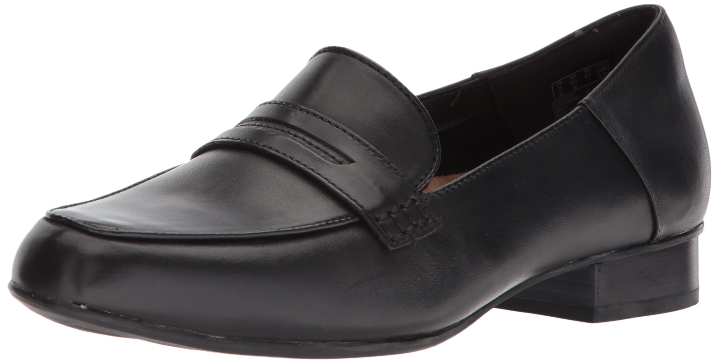 CLARKS Women's Keesha Cora Penny Loafer, Black Leather, 12 Medium US