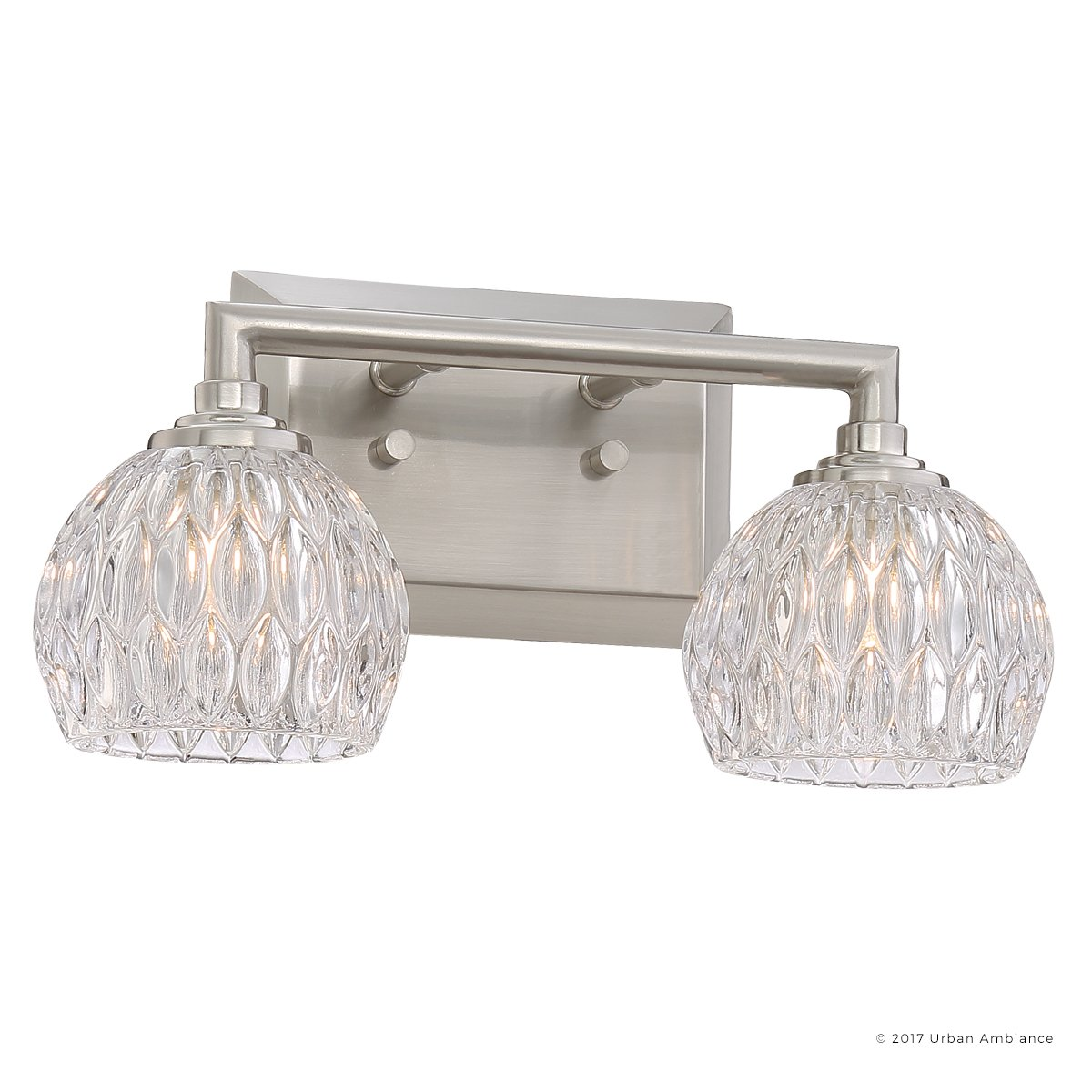 Luxury Crystal Bathroom Vanity Light, Medium Size: 6.25''H x 12.5''W, with Classic Style Elements, Brushed Nickel Finish and Marquis Cut Glass Shades, G9 LED Technology, UQL2620 by Urban Ambiance