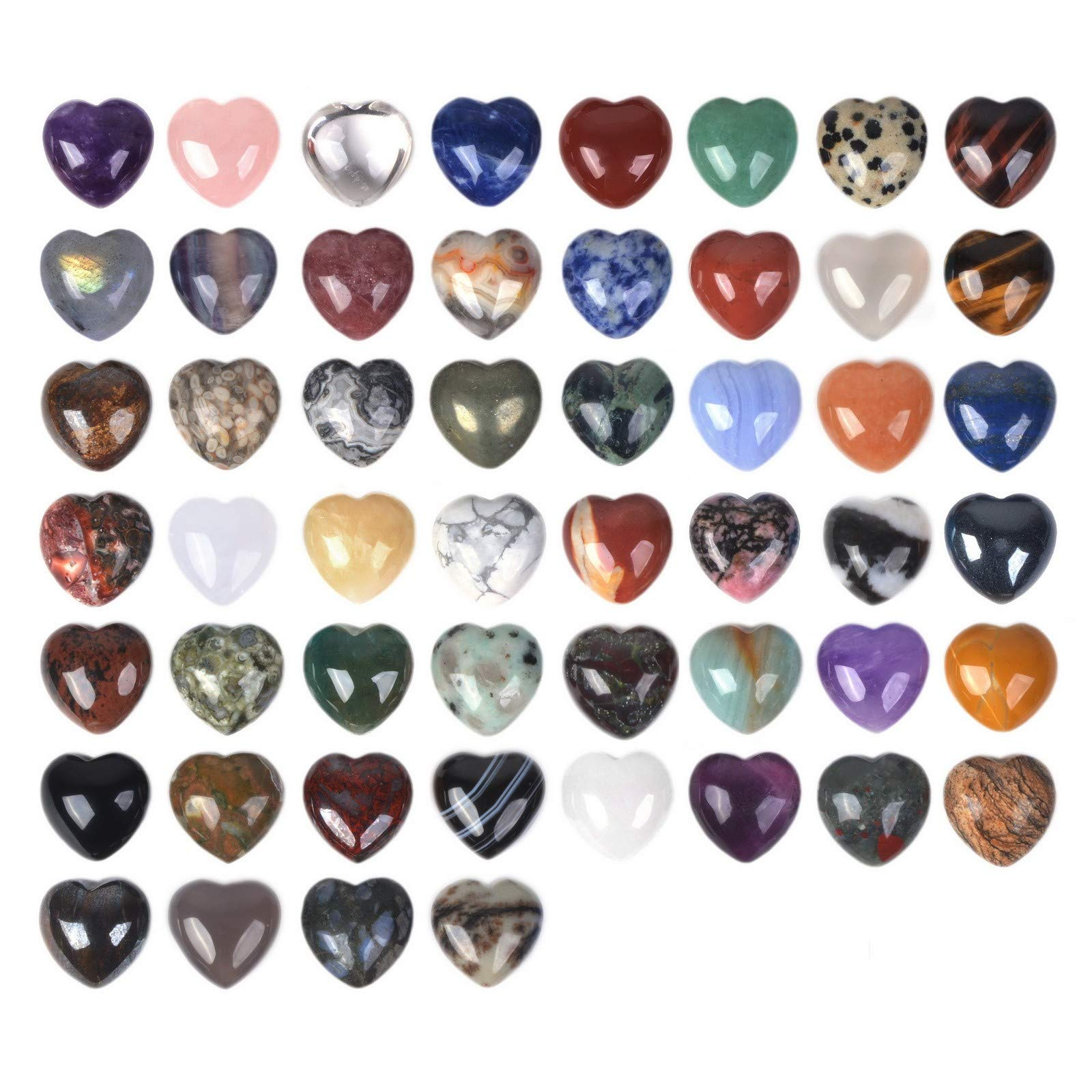 JUST IN STONES All Natural 20mm Mini Puffy Heart Assorted Gemstone Healing Crystal Pocket Stone Rock Collection Box (Pack of 24) by JUST IN STONES