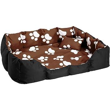 TecTake Cama Perros Mascota Gato Suave Resistente Cama CÃO Lavable Alfombra COJIN Can - Disponible en Diferentes Colores - (Negro-Marrón con Patas | no.