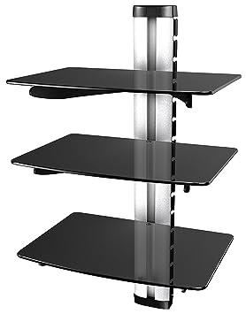 ricoo meuble tv design dvd s3 unit support mural etagere 3 en verre suspension led