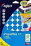 AGIPA Lot de 3 Etuis A5 ( 10F ) de 400 Pastilles Gommettes Rondes 24 mm Bleu