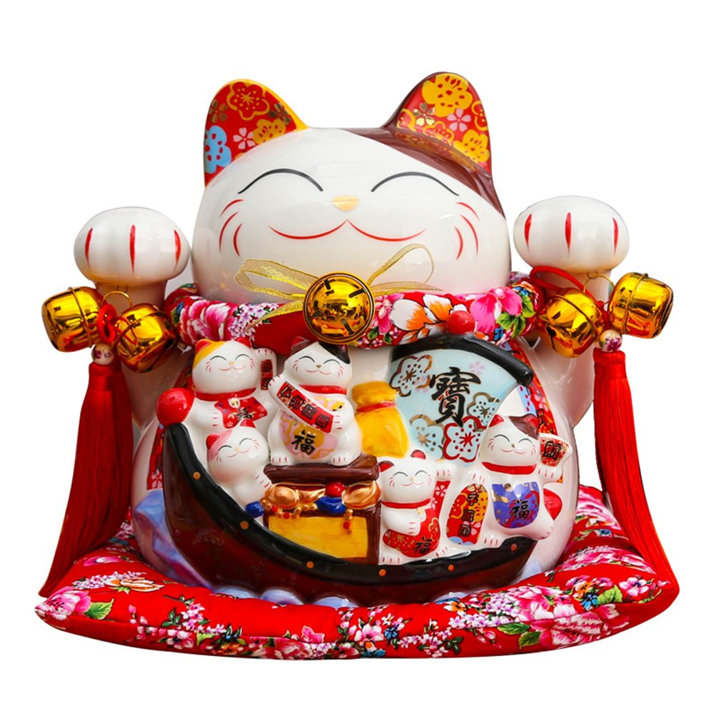 Large Size Ceramic Thriving Business Maneki Neko Lucky Cat(Beckoning Cat) Piggy Bank,Best Gift for Business Opening ,Feng Shui Decor Attract Wealth and Good Luck by Wenmily