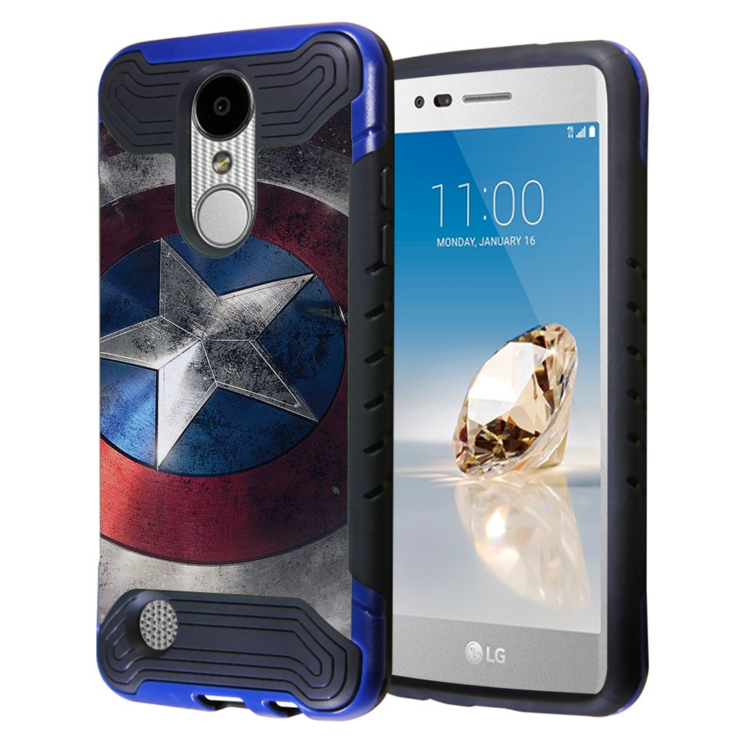 LG Aristo Case, LG Fortune Case, LG Phoenix 3 Case, Capsule-Case Hybrid Dual Layer Slim Armor Case (Blue Black) for LG Aristo / Fortune / Phoenix3 / K4 2017 / K8 2017 - (Rock Star)