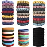 Soft Hair Ties 60PCS Seamless Cotton Hair Bands Strechy Ponytail Holders For Girls/Women,No Crease Hair Ties Bulk For…