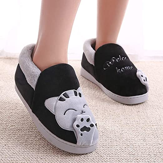 Amazon.com: Londony Winter Cute Slippers, Womens Cat Memory Foam Slippers Fleece Lined Slip On Clog House Shoes: Clothing