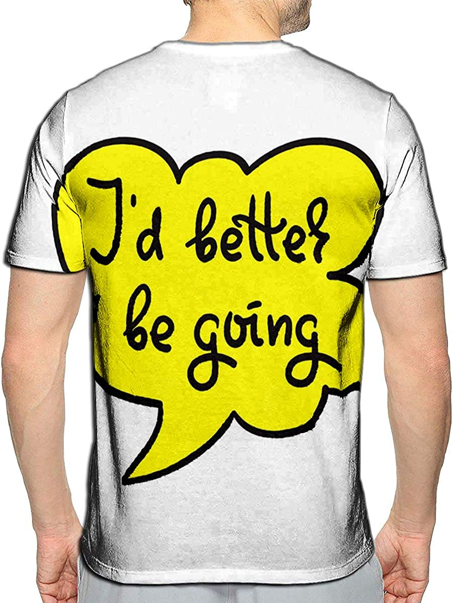T-Shirt 3D Printed I Rather Be Going to Simple Quote Casual Tees