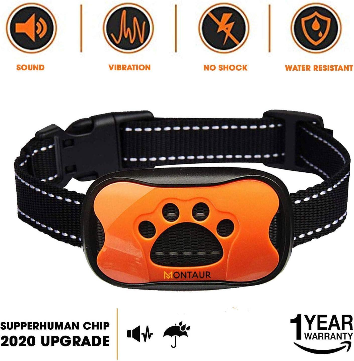 MONTAUR Dog Bark Collar – no Shock Vibration and Sound Stop Barking Collar for Dogs – 7 Level Sensitivities Anti Bark Collar