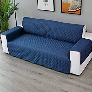 MO&SU Quilted Sofa Cover, Reversible Furniture Protector Non-Slip Anti-Grab Sofa Slipcover for Living Room Dog Pet Kids 1 2 3 Cushion Couch Covers-Navy-Chair 55x195cm