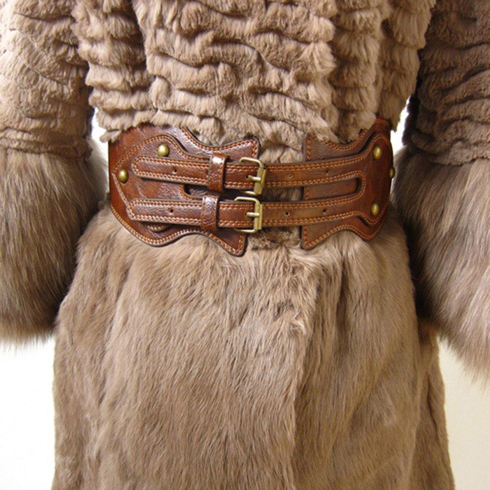 ICSTH Womens Obi Belt Vintage PU Leather Elastic Waist Belt Fashion Wide Belts (92CM)