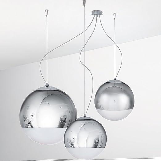 Lampadario Sospensione 3 Luci Cromo Design Moderno- Collezione Bolla ...