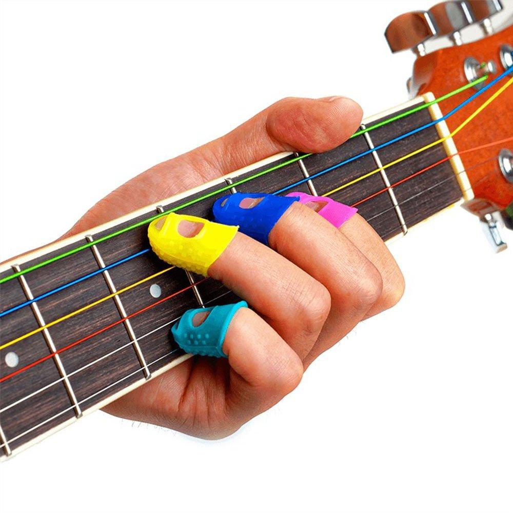 azul Ruiting guitarra protectores de dedos silicona dedos para ukelele