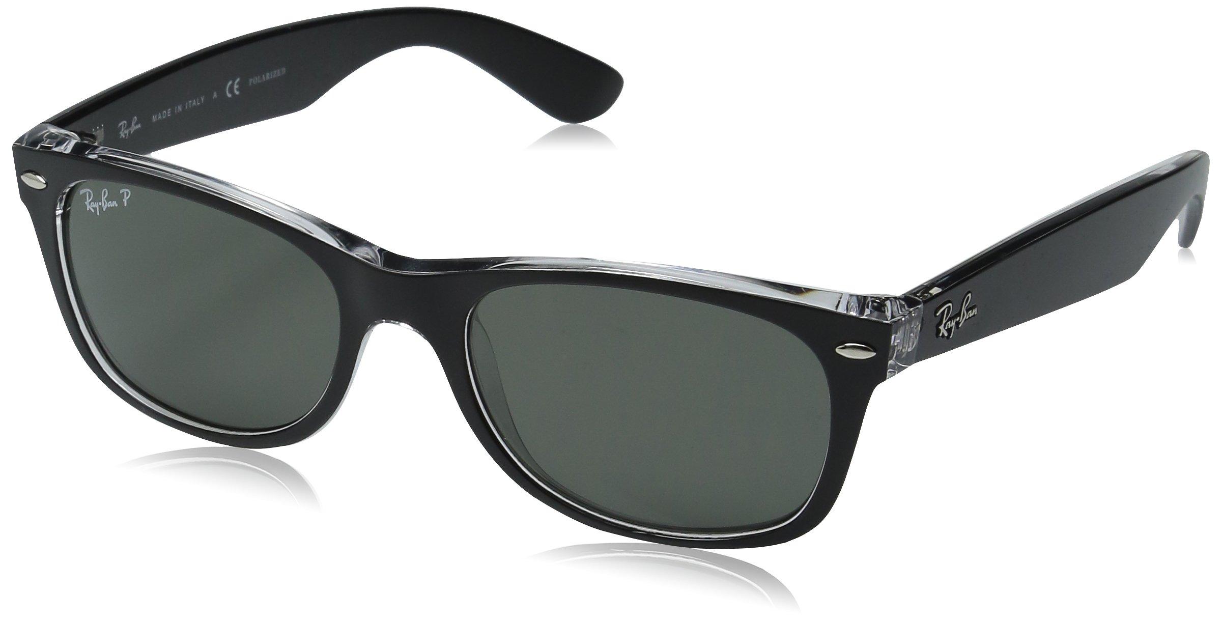 RAY-BAN RB2132 New Wayfarer Sunglasses, Black On Transparent/Green, 58 mm by RAY-BAN