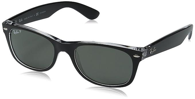 Ray Ban New Wayfarer, Gafas de Sol Para Hombre, Negro y transparente, Large (talla Del Fabricante: Large)