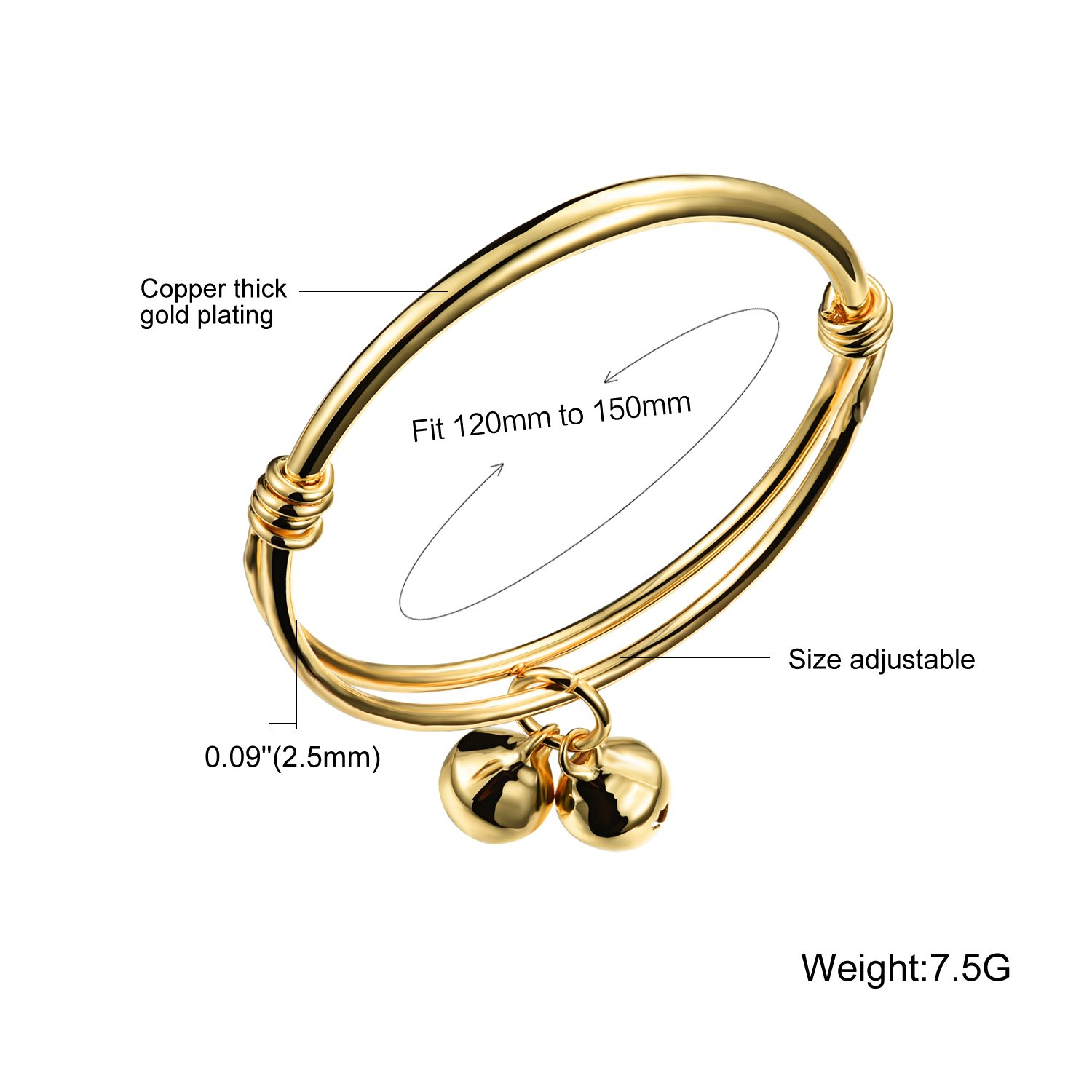 cda9c53f2a16e Gold Plated Small Bell Charms Bracelet Bangle for Unisex Baby ...