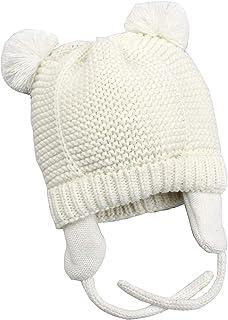 Unisex Baby Mütze Beanie,Tukistore Baby-Mädchen Mütze Wintermütze Strickmütze Kleinkind Kinder Earflap Hüte für Mädchen Jungen, Beige, S(44-48CM)