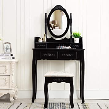 Amazon Com Unihome Black Vanity Table With Mirror And Stool Black Bedroom Black Dressing Table With 4 Drawers Small Makeup Table For Women Kitchen Dining