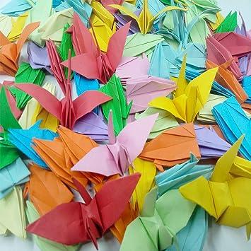 Morndew 100 grullas de papel de origami, colores mezclados ...