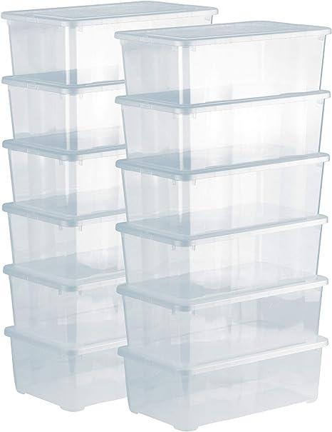 Grizzly 12 x Caja de Almacenaje con Tapa de 5 L - Cajón de Plástico Transparente Apilable - Caja Multiusos Organizador de Armarios para Ordenación de Ropa: Amazon.es: Hogar