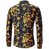 aedfe1f475b8d Camisa De Hombre De Vestir Estampada De Flor Personalidad De Manga Larga  Collar Clásico…