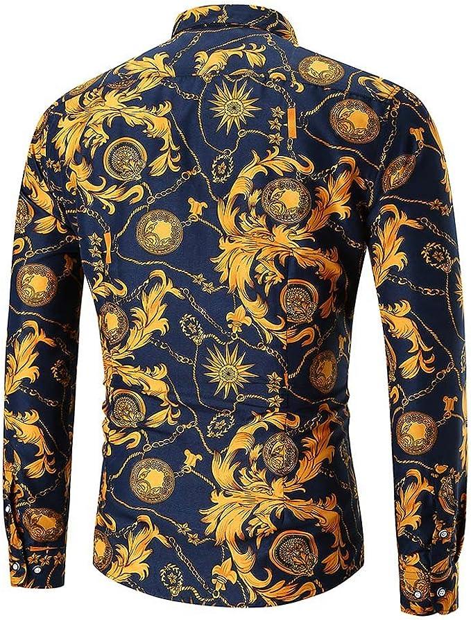 Camisa De Hombre De Vestir Estampada De Flor Personalidad De Manga Larga Collar Clásico Camiseta Casual Slim Fit De Lino Retro Blusa Tops: Amazon.es: Ropa y accesorios