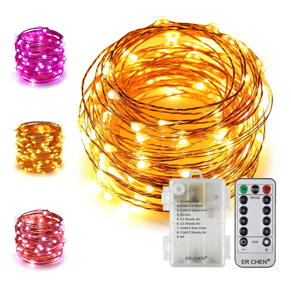 ER CHEN 33Ft 100 LED String Lights, Battery Operated Copper Wire Color Changing Christmas Fairy Lights with 8 Modes Remote Control Timer for Bedroom, Patio, Wedding, Party (Warm White&Purple)