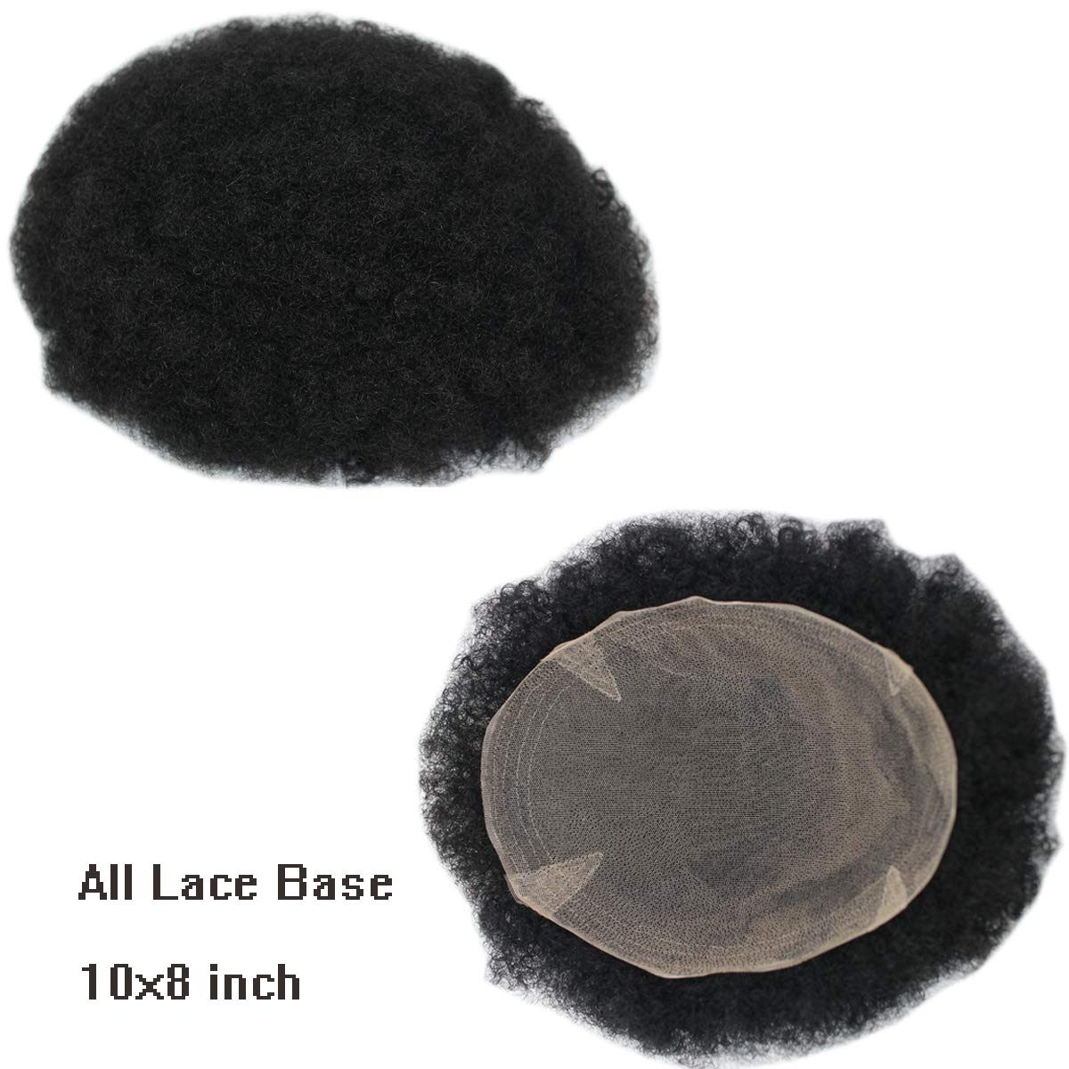 Dreambeauty Full Lace Base Hairpieces for Men 10x8 inch 100% Human Hair Toupee Hand Made Men's Hairpiece Afro Curl for Men