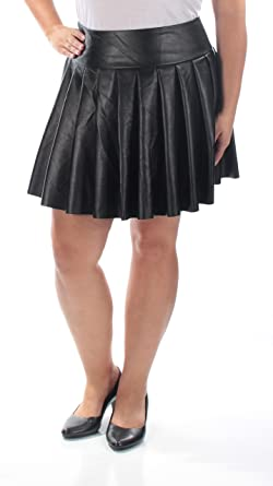 1fe801674a6 Chelsea Sky Womens Faux Leather Pleated Flare Skirt at Amazon Women s  Clothing store