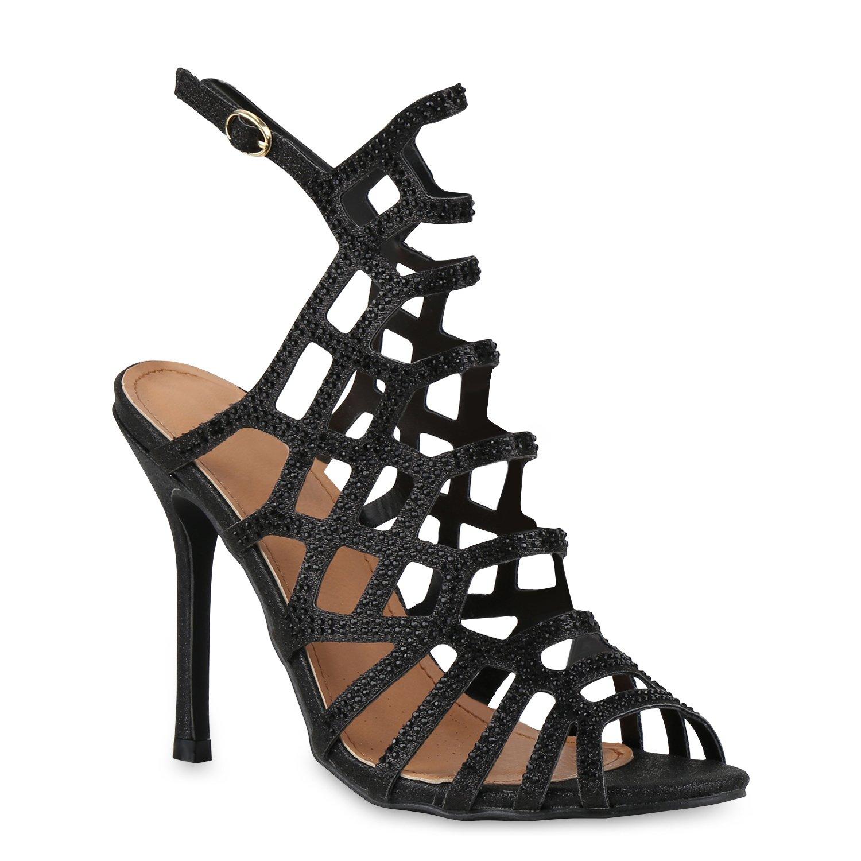 Stiefelparadies Damen Sandaletten High Heels mit Pfennigabsatz Strass Nieten Flandell Schwarz Nero