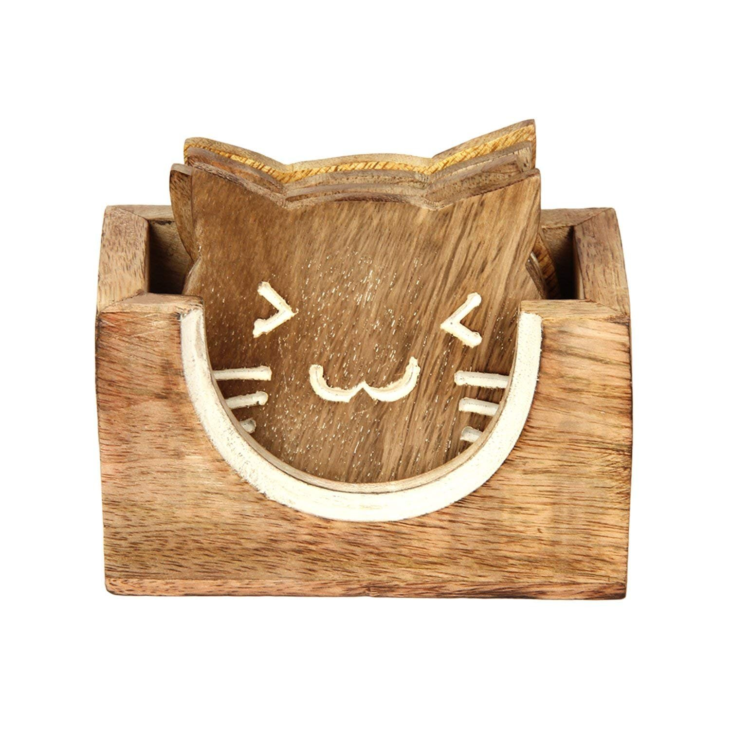 Wooden Set of 4 Cat Shaped Coasters for Drinks with Holder Tea Coffee Mug Glass Coaster Bar Dining Accessories - Aheli
