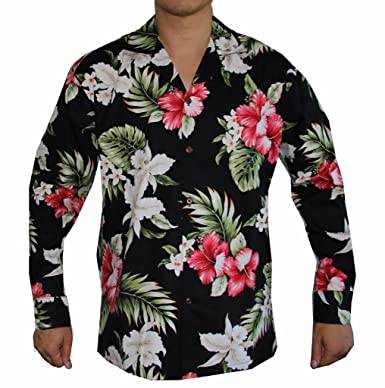 bc928d37e Men's Long Sleeve Island Flowers Hawaiian Aloha Shirt at Amazon ...