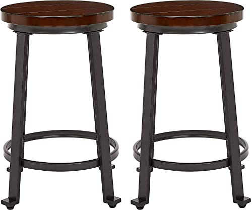 Ball Cast Counter Height, Set of 2 Bar Stool, Rustic Brown