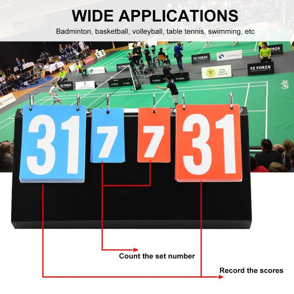 Tableau de Bord /à 4 Chiffres pour Tableau de Bord Flipper pour Comp/étition Sportive Tennis de Table Basketball Badminton VGEBY1 Tableau de Bord Portatif