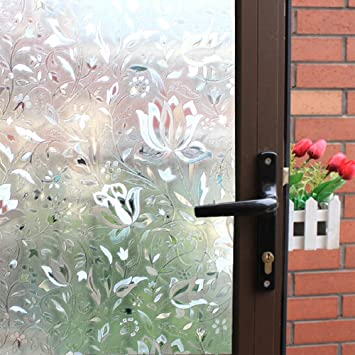 Tulip Embossed Window Film No Glue Decorative Privacy Glass Window Film  Non Adhesive Frosted