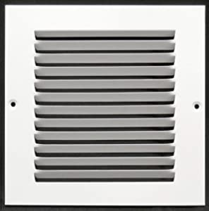 "6""w X 6""h Steel Return Air Grilles - Sidewall and Ceiling - HVAC Duct Cover - White [Outer Dimensions: 7.75""w X 7.75""h]"