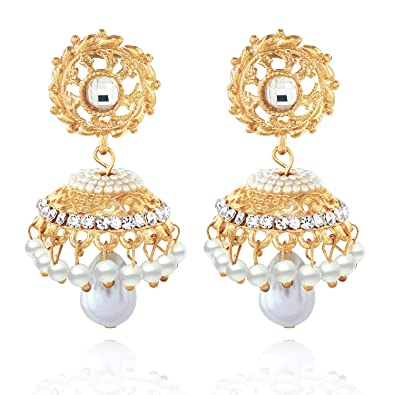 Indian Ethnic Gold Tone Long Pearl Earring Jhumki Bollywood Fashion Jewelry Set Jewelry & Watches