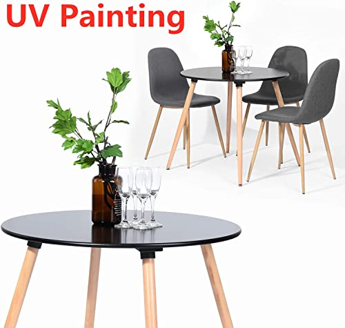 Kitchen Dining Table UV Painting Top Round Coffee Table Conference Pedestal Desk Natural Beech Wood Leg