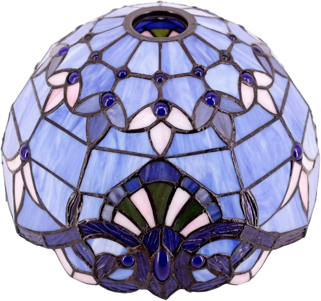 Tiffany Lamp Shade Replacement 12 Inch Blue Purple Stained Glass Baroque Lampshade Only, Center Circle Hole 4.2CM Fit for Floor Torchiere Lamp, Pendant Light S003C WERFACTORY