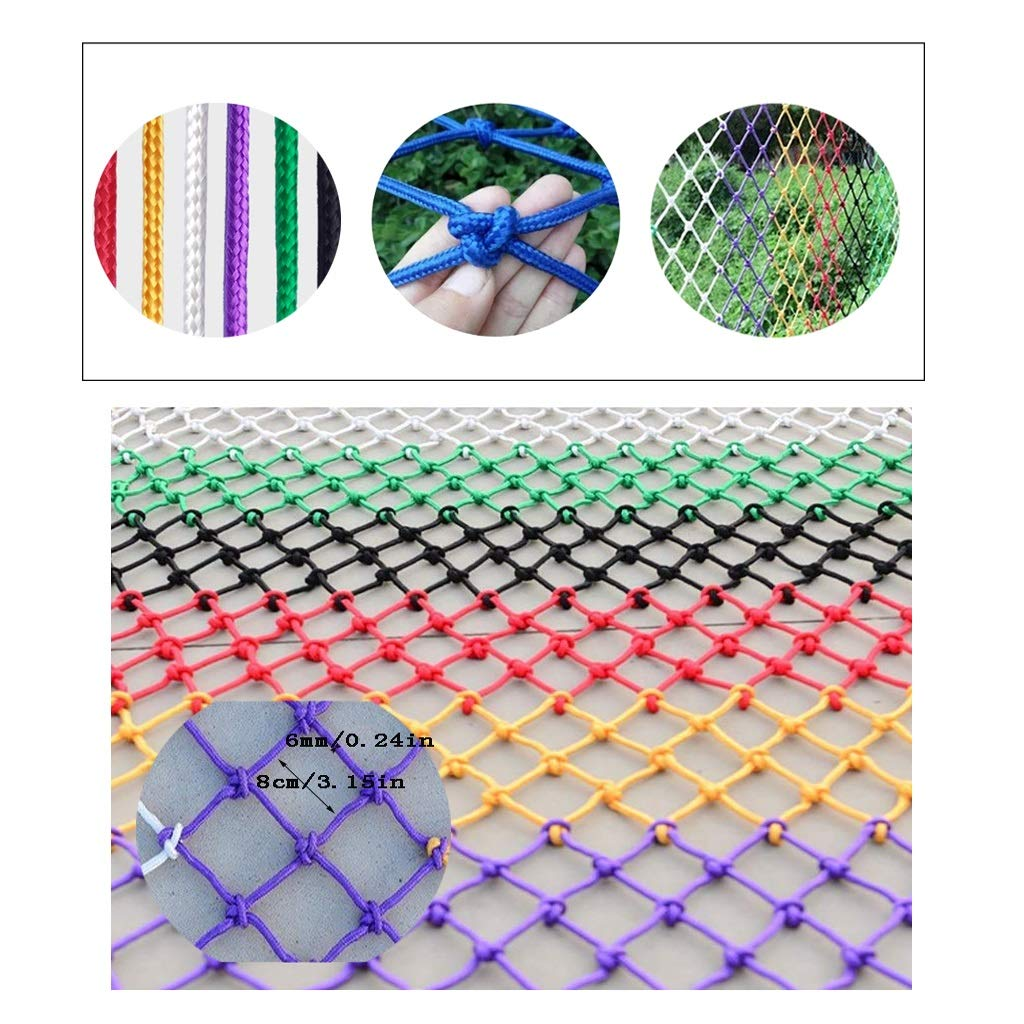 Cargo Protection Net Children Pet Safety Net Balcony Stair Anti-Drop Net Goods Net Color Decor Net Cat Net Nylon Hand-Woven NetTraditional Structure Mesh 80x80mm 6mm Rope (Size : 3x6m)