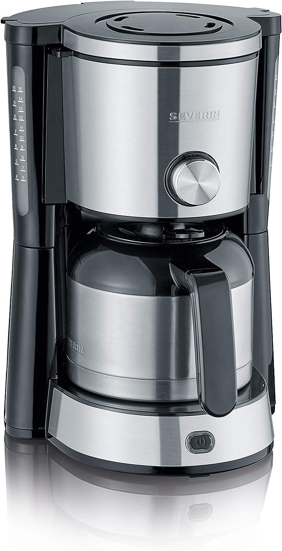 SEVERIN KA 4845 Cafetera Type Switch para filtros de Café Molido, 8 tazas incluye jarra termo, acero inoxidable/negro: Amazon.es: Hogar