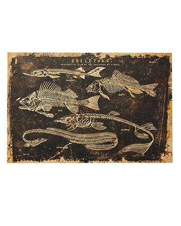 Horror Weihnachtsbilder.Horror Shop Skelettierte Fische Leinwanddruck Als Halloween Wanddeko