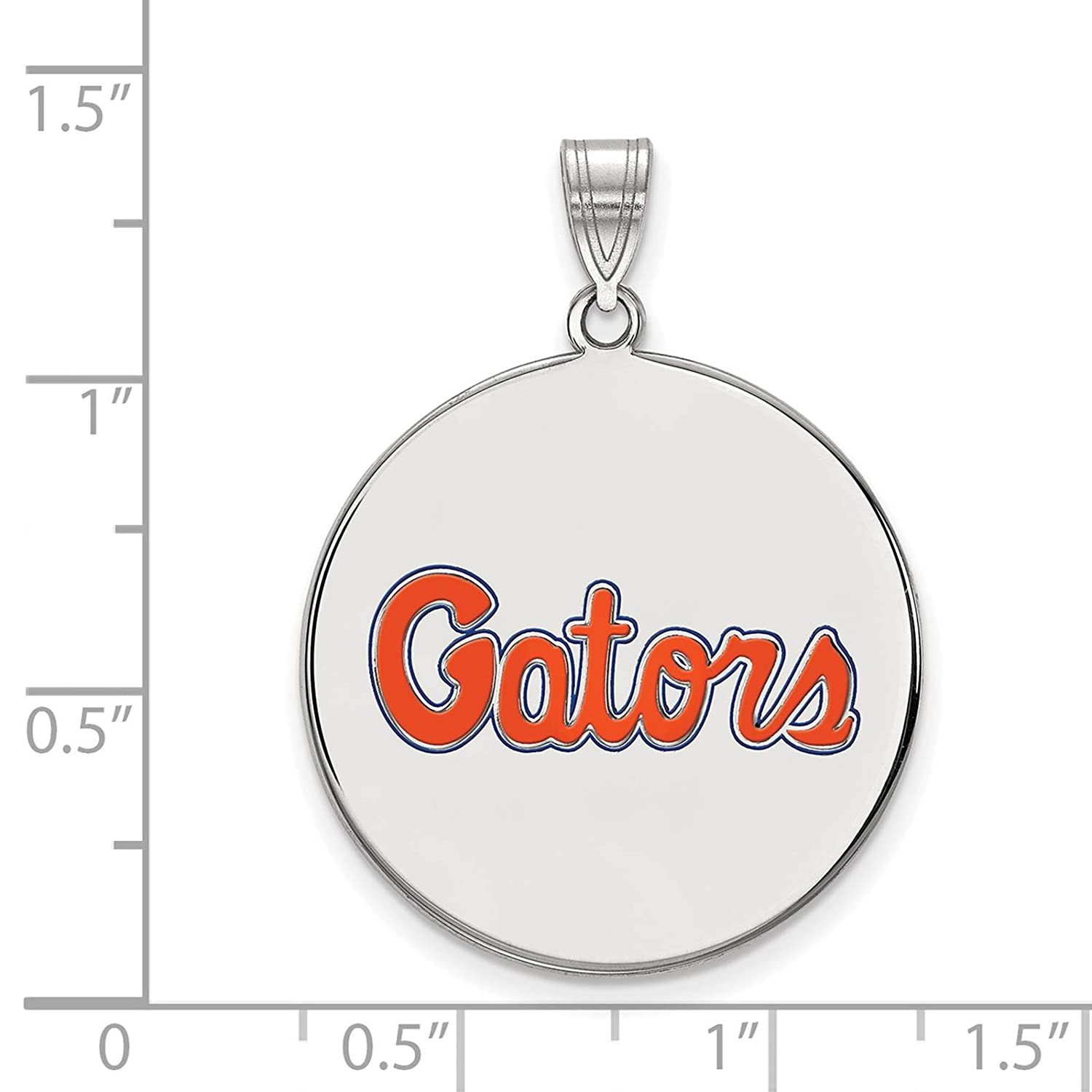 925 Sterling Silver Rhodium-plated Laser-cut University of Florida XL Enameled Disc Pendant