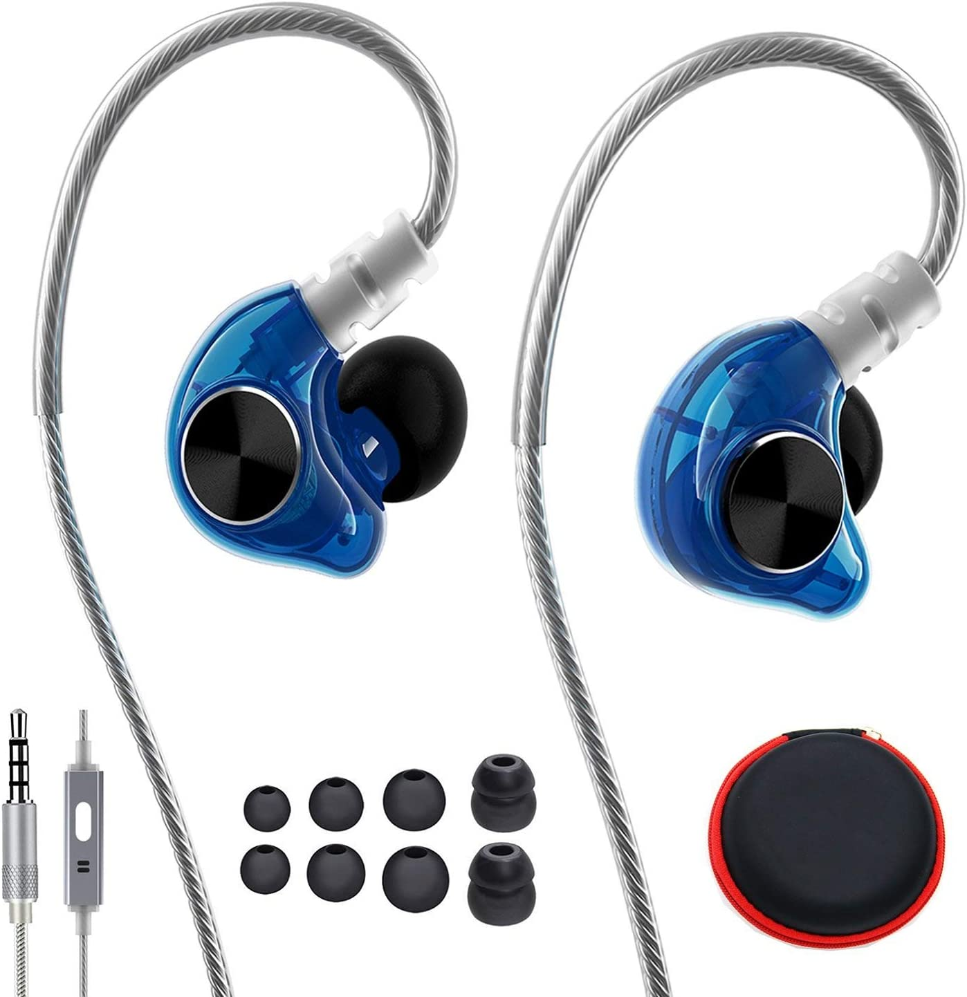 Running Headphones, LZHE in Ear Hi-Fi Monitor Earbuds with Noise Isolating, Mic and Remote, Flex Memory Wire Earhooks Earphones for Sports Running Jogging Gym Exercise Workout iPhone Samsung – Blue