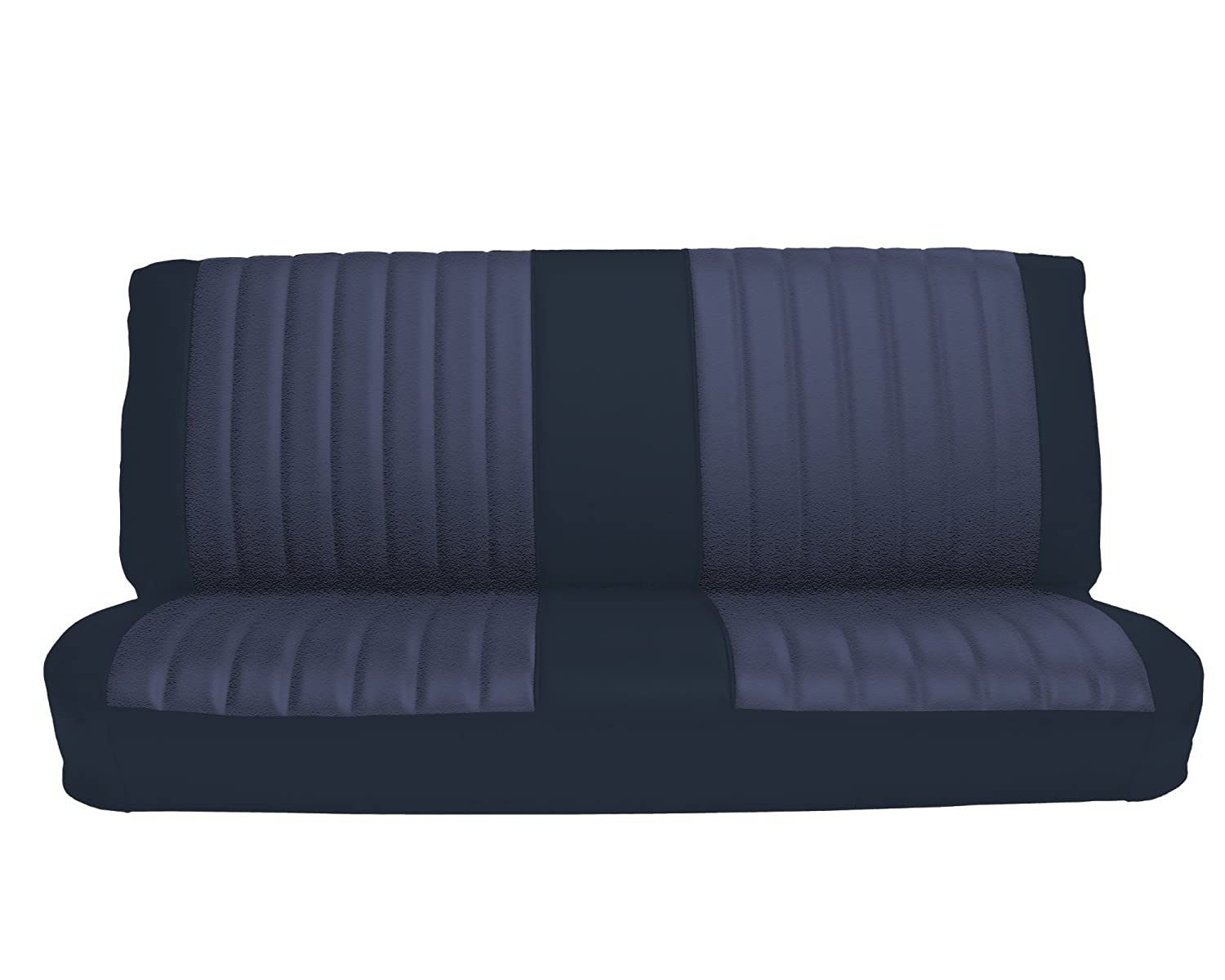 Acme U1005-015M Front Navy Blue Vinyl Bench Seat Upholstery with Blue Regal Velour Pleated Inserts