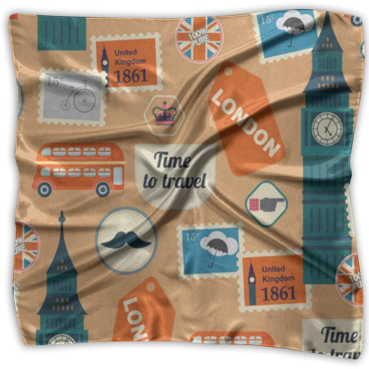 Square Scarf Retro British Stamp Scarves Unisex Bandanas Tie For Adults