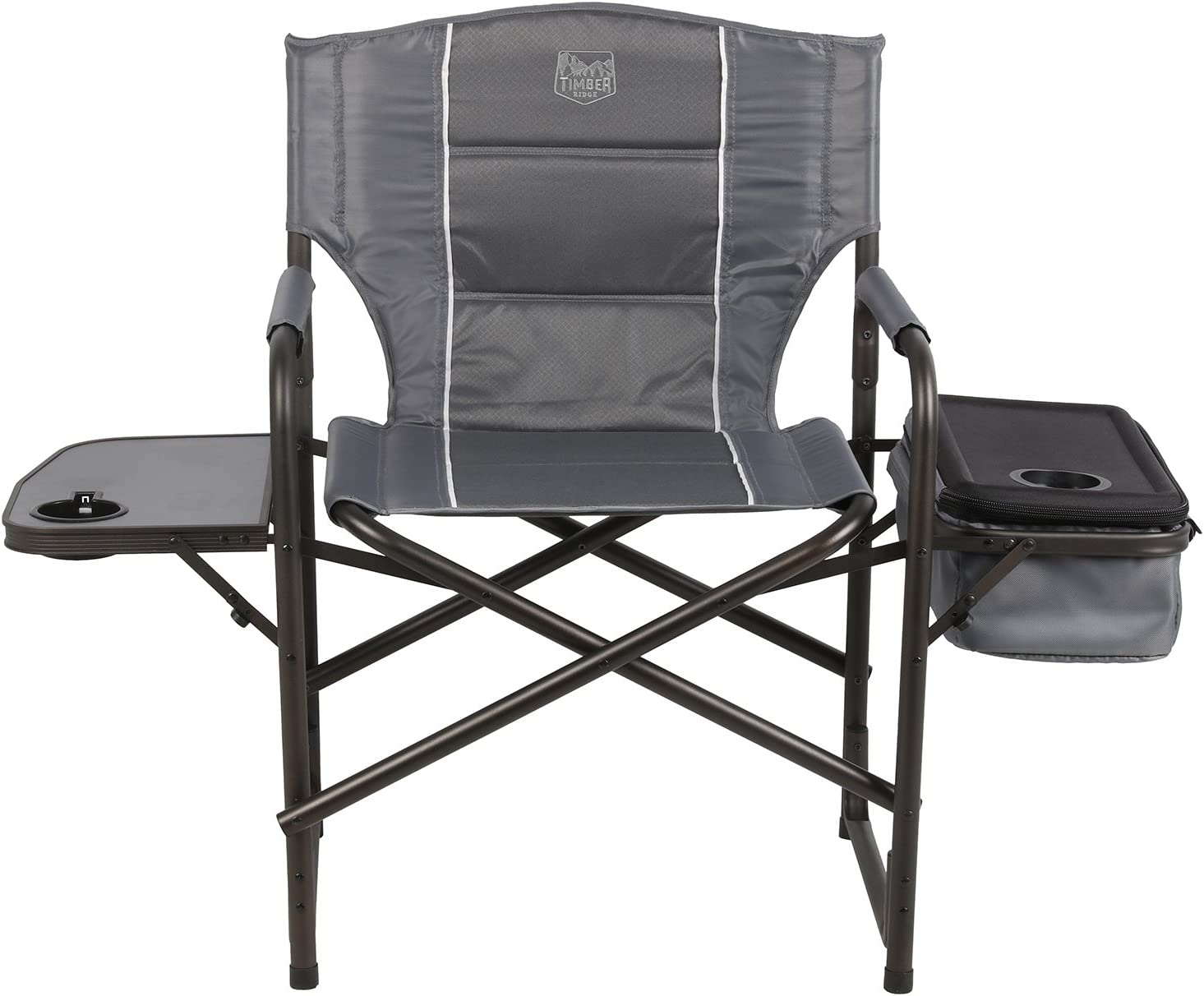 Timber Ridge Laurel Director s Chair with Cooler Bag Side Table, Grey